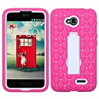 Asmyna Symbiosis Kickstand Protector Cover with Diamonds for LG VS450PP Optimus Exceed 2/M7323 Optimus L70 - Retail Packaging - White/Hot Pink