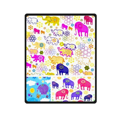 "Fancy Seamless Pattern With Elephants Custom Blanket 40""X 50""(Small) front-854412"