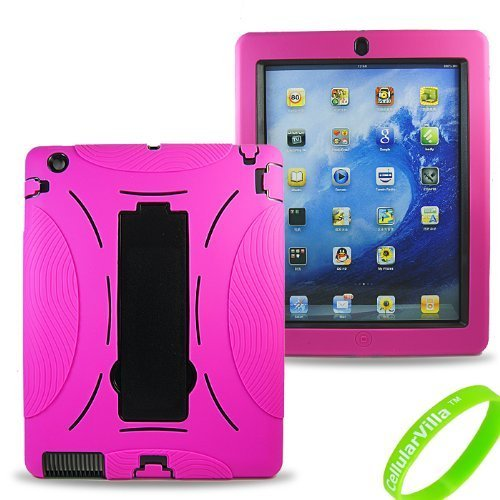 Cellularvilla Combo Case for Apple Ipad 2 Ipad2 Hybrid Armor Kickstand Hard Soft Case Cover-Pink
