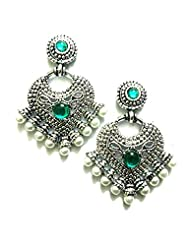 Ethnic Fashion Earrings With Pearl And Coloured Crystals In Silver Finish, Peacock Green