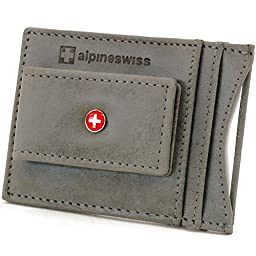 Alpine Swiss Mens Wallet Leather Money Clip Thin Slim Front Pocket Wallet Gray