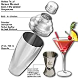 Bartender Cocktail Martini Shaker Kit&Free gift by LocoCocktail-Stainless Steel Drink Mixer w/Jigger&pourer-Professional Barware Accessories-Barista Starter Tools Gift Set-Home Bar Margarita Maker