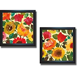 Fall Garden I & II by Kim Parker 2-pc Premium Satin-Black Framed Canvas Set (Ready to Hang)