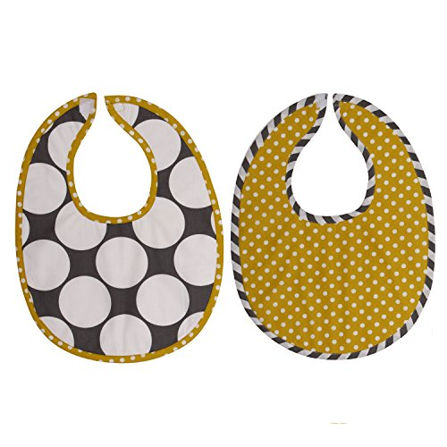 Bacati 2 Piece Dots/Pin Stripes Dots Bibs Set, Grey/Yellow - 1