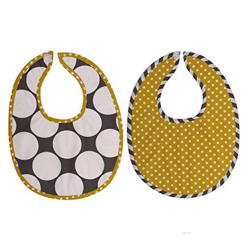 Bacati 2 Piece Dots/Pin Stripes Dots Bibs Set, Grey/Yellow - 1