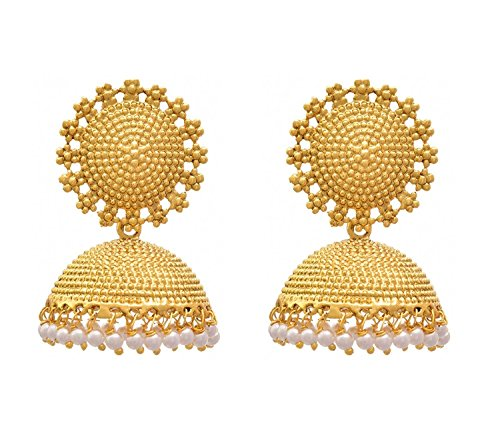 e9793774d Royal Bling Gold Plated White Pearl Polki Jhumki Earrings For Girls & Women  Buy Royal Bling