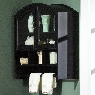 SEI Black Arch-Top Bathroom Wall Cabinet