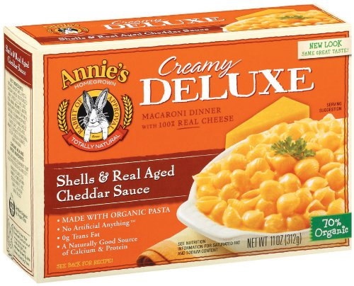 Annie's Homegrown Deluxe Shells & Real Aged Wisconsin Cheddar, 11-Ounce Boxes (Pack of 12)