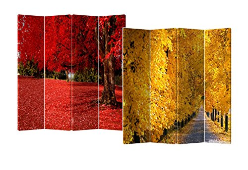 Roundhill Furniture 4-Panel Double Sided Painted Canvas Room Divider Screen, Yellow Red Fall Colors, 17 x 71