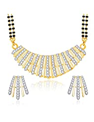 VK Jewels Shell Shaped Gold And Rhodium Plated Mangalsutra Pendant Set With Earrings For Women-MP1167G [VKMP1167G]