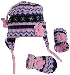 N\'Ice Caps Girls Fair Isle Print Micro Fleece Hat And Mitten Set (6-18 Months, Black Fair Isle/Neon Pink Infant)