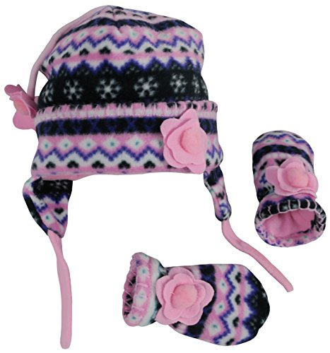 N'Ice Caps Girls Fair Isle Print Micro Fleece Hat And Mitten Set (3-6 Months, Black Fair Isle/Neon Pink Infant)