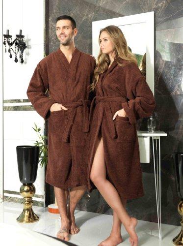 Frottee Kimono Bademantel Damen Herren Farbe Schokobraun Größe S