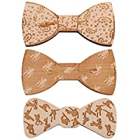kilofly 3pc Handmade Magnetic Wooden Bowtie Wood Bow Ties Party Value Pack