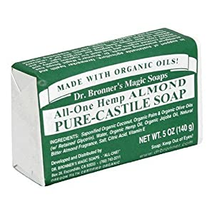 Dr. Bronner's Magic Soaps Pure-Castile Soap, All-One Hemp Almond, 5-Ounce Bars (Pack of 6)
