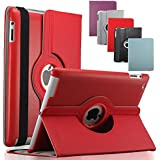 KEVENZ iPad 2/3/4 Cases and Covers for Apple iPad 2 / iPad 3 / iPad 4 Case Cover leather 360 Rotating Stand- Red - K401