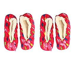 Womens Colorful Comfortable Ankle Slipper Socks (One Fits All) (Red)