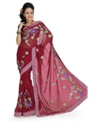 Designersareez Women Faux Georgette Embroidered Maroon Saree With Unstitched Blouse(687)