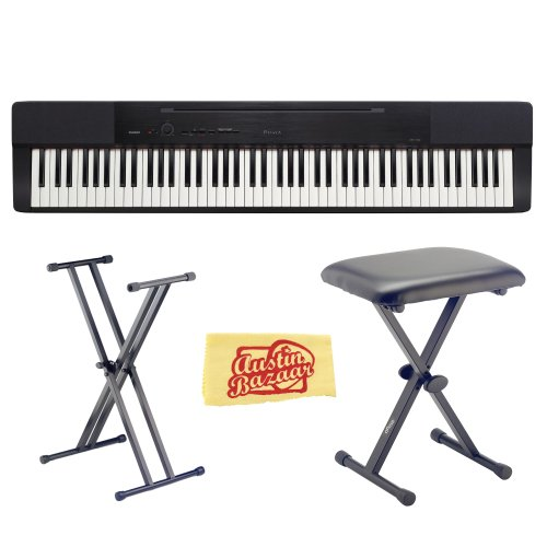 Casio Privia Px-150 88-Key Digital Piano Bundle With Gearlux Jx-90 Bench, Gearlux Jx-52 Stand, And Austin Bazaar Polishing Cloth - Black