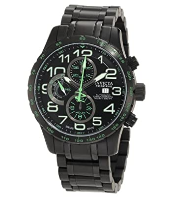 Invicta Men's 0594 Reserve Automatic Chronograph Black Ion-Plated Stainless Steel Watch