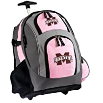 Mississippi State University Rolling Backpack Deluxe Pink Mississippi State - Backpacks Bags with Wheels or School Trolley Carry-On Suitcase Bags - Unique Wheeled Gifts for Girls Ladies Women