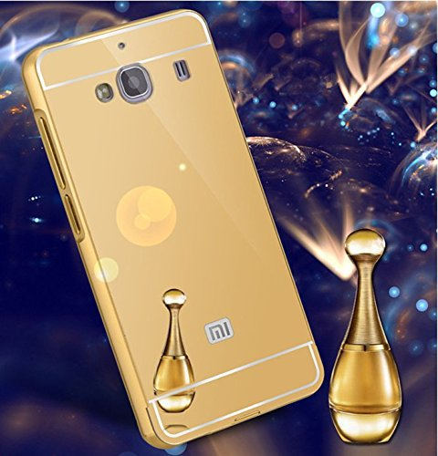 purchase cheap cdf19 5773a JMV Xiaomi Redmi 2/ 2S/ Prime Case, JMV Luxury Metal Bumper Acrylic Mirror  Back Cover Case For Xiaomi Redmi 2/ 2S/ Prime - (Gold Mirror)