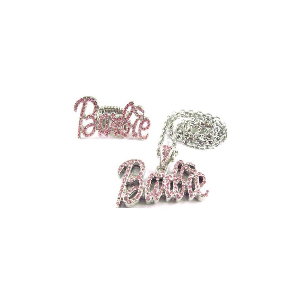 NICKI MINAJ BARBIE Pendant 18 Chain & Ring Set Silver Pink