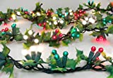 9' Pre-Lit Holly Berry Artificial Christmas Garland - Red, White & Green Lights