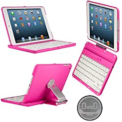 CoverBot iPad Mini Keyboard Case Station PINK. Bluetooth Keyboard For 7.9 Inch New Mini iPad with IOS Commands. Folio Style Cover with 360 Degree Rotating Viewing Stand Feature