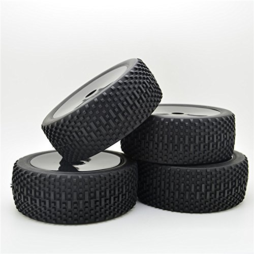 black-rc-18-car-off-road-wheel-rim-square-box-pattern-rubber-tires-with-foam-tires-pack-of-4