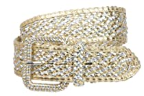 2 Inches Wide Hand Made Braided Square Buckle Belt Size: S/M - 32 Color: Gold/Silver