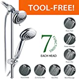 DreamSpa® Instant-Mount Drill-Free Height / Angle Adjustable 36-Setting 3-Way Shower Head / Handheld Shower Combo with 22 inch Stainless Steel Slide Bar / Premium Chrome Finish