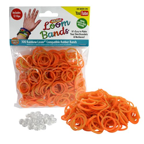 Loom Rubber Bands - 300 Pc Tye Dye Rubber Band Refill Pack (Orange & Green) with 12 Clips - 100% Latex Free and Compatible with All Looms