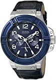 GUESS Men's U0040G7 Rigor Sophisticated Blue Genuine Leather Multi-Function Watch