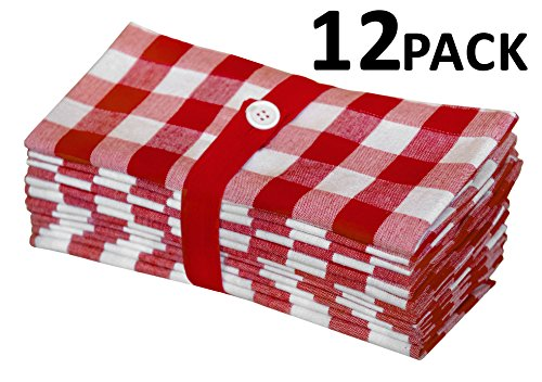 Gingham Checks Dinner Napkins Red  Cotton