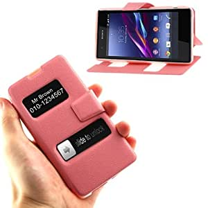 Pebble Texture Flip Leather Case with Call Display ID & Holder for Sony Xperia Z1 mini (Pink)