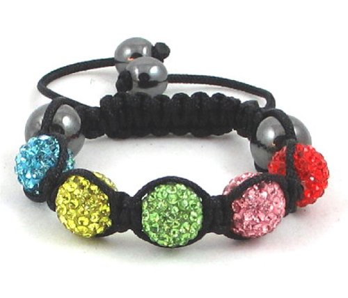05-Ball Children Kids Girls Boys Petites Teen Multi Colour Bead Shamballa Bracelet on Black String