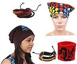 Sushito Brown Winter Beanies Cap For Men With Stylish Headwrap & Wrist Band