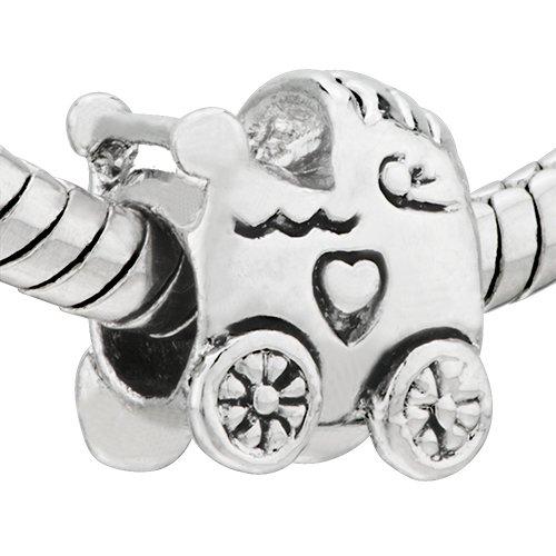 Stroller Heart Baby Car Bead - Pandora Charm & Bracelet Compatible