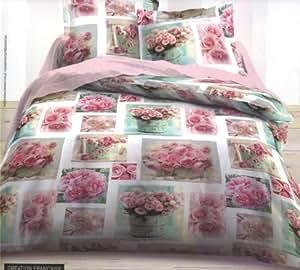 parure de lit housse de couette double 2 personnes 240 x 220 cm fleur roses parure rosie. Black Bedroom Furniture Sets. Home Design Ideas