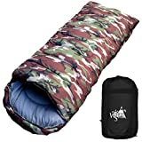 丸洗いのできる寝袋 ワイドサイズ 封筒型 最低使用温度 -5℃ コンパクト収納袋付き シュラフ 寝袋 オールシーズン (迷彩)