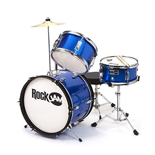 3 piece metallic blue junior drum set complete accessories cymbal and drumsticks ebay. Black Bedroom Furniture Sets. Home Design Ideas