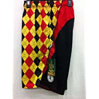 Flow Society Authentic Lacrosse Gear Mesh Shorts Performance Argyle Black Red Yellow Size Youth Medium