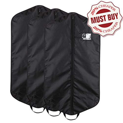 Pack of 3 Garment Bags for Clothes Storage, Travel, Light Weight, Durable, Black (Garment Bag Light compare prices)
