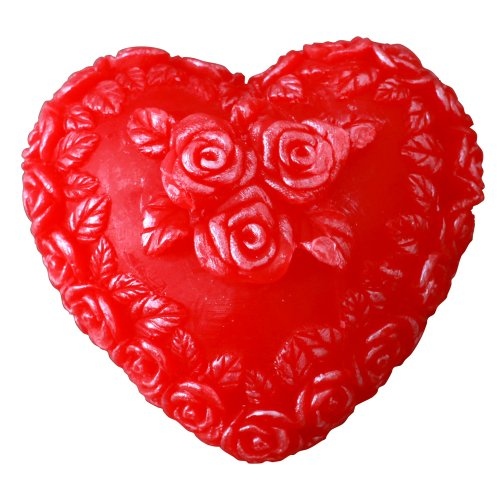 Dfl Heart-Shaped Flameless Led Candle,Embossed Rose,Red
