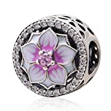 Magnolia Flower Charm 925 Sterling Silver Cubic Zirconia Charm for European Chain Bracelets (A)