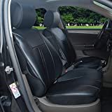 120901S Black-2 Front Car Seat Cover Cushions Leather Like Vinyl, Compatible to Nissan 200Sx 240Sx Altima Maxima Versa 2017-2007