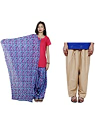 Indistar Women's Cotton Blue Patiala Salwar With Dupatta And Beige Plain Salwar - B01HV505J2