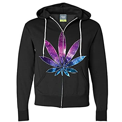 Cosmic Cannabis Space Pot Leaf Galaxy Zip-Up Hoodie