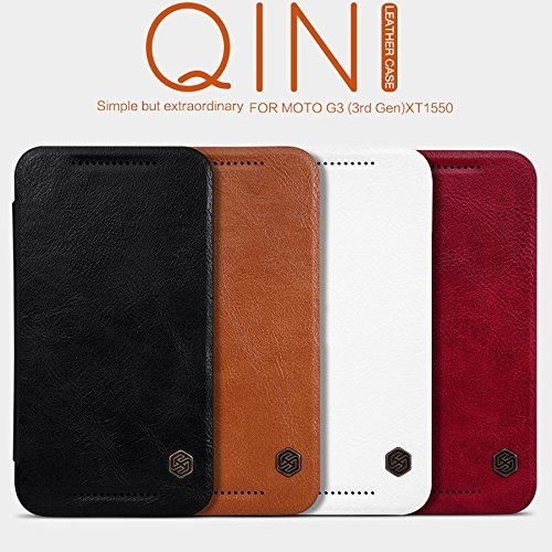 brand new 0780c 31a3d Nillkin Qin Leather Case For MOTO G3 Black